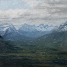 """Matthew Tarini, Beehive Mountains, oil on linen on gatorboard, 6 x 6"""""""