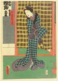 Kunisada_utagawa-1786-1865_Lady_Omaki-Kabuki-1858-woodblock-print-14x9-9inches
