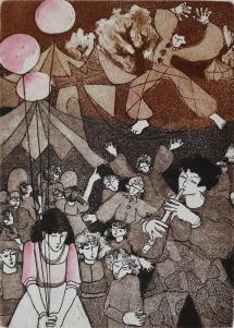 """Francine Gravel,Les sons s'amusent 22/25, etching, 6.75 x 5"""""""