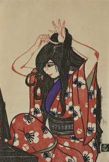 """Isaku Nakagawa (1899-2000) """"Combing Hair"""", 1929 woodblock print 11.75 x 8.25"""""""
