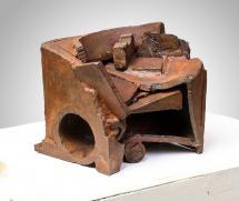 """Peter Hide """"Dropbox"""" 2013 - 2019 mild steel, welded 10h x 12.5w x 9.5d inches"""