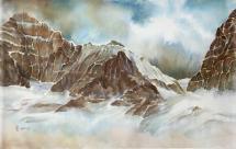 "Yuriko Kitamura ""South Side of Mt Biddle"" 2012 watercolour on washi paper 24.5 x 38.5"""