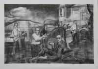 """San Clemente, 2014, charcoal on paper, 38 x 50"""""""
