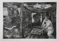 Objects and Logotypes, 2014, charcoal, on paper, 38 x 50""