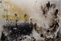 """Marianne Watchel """"Fujiwhara Effect"""" 2018 acrylic on canvas 48 x 72 inches"""