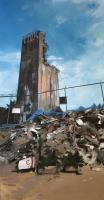 "Andrea Kastner ""Tower and Rubble"" 2018 oil on canvas 75 x 39"""