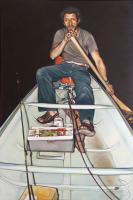 """Campbell Wallace, Skeleton Lake, 2014, acrylic and oil on canvas, 53.75 x 36"""""""