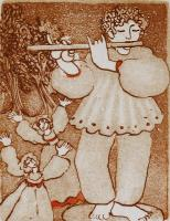 """Francine Gravel, Piper, etching, 3 x 2"""""""