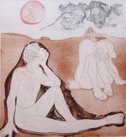 """Francine Gravel """"Le Reveur 7/18"""" 1978 etching 17.5 x 16"""""""