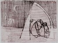 "Francine Gravel, A l'abri, etching, 1 3/4 x 2 1/4"""