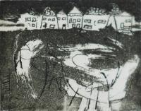 """Francine Gravel, Ville au Vent, etching, 1 1/8 x 1 1/2"""""""