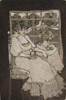 """Francine Gravel, Etude pour """"Dame dans la fenetre"""", etching, 5.75 x 3.75"""""""