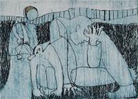 "Francine Gravel, Gnomes, etching, 1.857 x 1.875"""