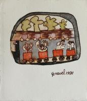 """Francine Gravel, Off to Somewhere, watercolour, 3.625 x 3"""""""