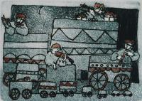 "Francine Gravel, Petits Voyageurs, etching, 2 x 2 3/4"""