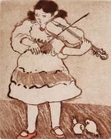 "Francine Gravel, Prodegies, etching, 3 3/4 x 2 3/4"""