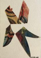 "Henry George Glyde (1906 - 1998), Christmas Card ""Dove"" 1968, mixed media collage, 5 x 3.75"""