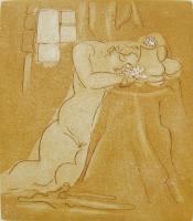 "Francine Gravel, Nymphs, etching, 6 3/4 x 6"""