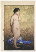 """Hiroshi Yoshida (1878-1959) """"Shusuka (study / nude)"""" 1927 woodblock print 16.3 x 11"""""""