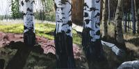 "Leslie Poole ""Aspens with Rock"" acrylic on canvas 30 x 60"""