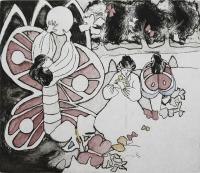 "Francine Gravel, Chrysalis, etching, 9 3/4 x 11 3/4"""