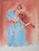 """Francine Gravel, Etude Pour """"Deuxieme Violon"""", watercolour, 19 x 14.5"""""""