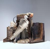 """Katherine Sicotte """"Altarpiece, 2016-2017"""" cast iron, concrete, fossil, and clay 16.75 x 24.5 x 7.75"""""""