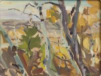 "Ken Christopher, Through the Trees, oil on birch panel, 9 x 12"""