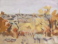 "Ken Christopher, Trees on the Rim, oil on birch panel, 9 x 12"" *SOLD*"
