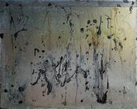 "Marianne Watchel ""Dancing on a Light Wind"" acrylic, copper slag, quartz, and garnet on canvas 48 x 60"""