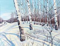 "Michael Miller ""Leaning into Winter"" 2020 acrylic on linen 9 x 12"""