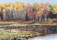 "Michael Miller ""Reflections on a Beaver Pond"" 2020 acrylic on linen 9 x 12"" *SOLD*"