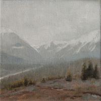 Matthew Tarini, Mountain Slops, oil on linen on dibond, 6 x 6""