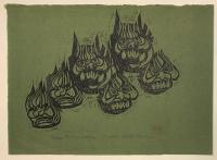 "Naoko Matsubara (b.1937) ""Demon Masks from Tu Tze-Chun"" 1965 woodblock print 12.75 x 17.75"""