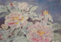 "Yuriko Kitamura ""Peonies on Purple"" watercolour on washi paper 14 x 20"""