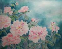 "Yuriko Kitamura ""Peonies #8"" mixed media on washi paper 19.5 x 24.25"""