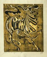 "Tadashi Nakayama (1927-2014) ""Mahiru no Inanki"" (Neighing in the Daytime), 1966 woodblock print 2/65 | 32 x 27"" (full sheet) *NEW*"