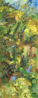 Arlene Wasylynchuk, Forest Passages #1, oil on canvas, 60 x 24""