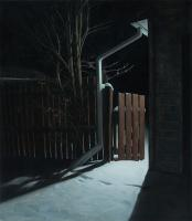 "Matthew Tarini ""Backyard Fence"" oil on canvas, 16 x 14"""