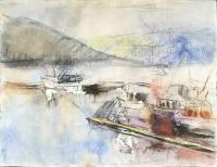 Edward Epp, Dusk -  Fishing Boats Seal Cove, 05-05-04, watercolour and graphite on paper, 19.75 x 25.75""