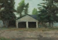 "Matthew Tarini ""Garage III"" oil on masonite, 5 x 7"""
