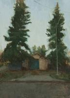 "Matthew Tarini ""Garage II"" oil on masonite board, 5 x 7"""