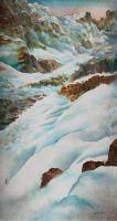 "Yuriko Kitamura, Mountain Dawn, 1999, watercolour/dye on washi paper, 38 x 24"""