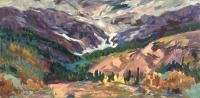"Arlene Wasylynchuk ""Glacial Guards I"", 1997, oil on panel, 11.5 x 23.5"""