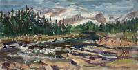 "Arlene Wasylynchuk ""Spring Along the Bighorn I"", 1999, oil on panel, 12 x 24"""