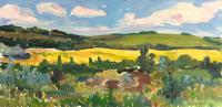 "Arlene Wasylynchuk ""Summer Fields I"", 1997, oil on panel, 11.5 x 23.5"""