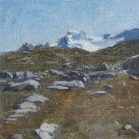 Matthew Tarini, Wilcox Pass, oil on linen mounted on gatorboard, 6 x 6""