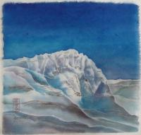 "Yuriko Kitamura""Mt Odaray"" watercolour on rice paper  9.5 x 10"""