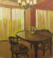 """Gillian Willans """"Study for Orange Kitchenette"""" 2015 acrylic and oil on paper 10 x 8.75"""""""