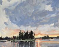 "James MacDonald ""Dusk at Astotin Lake"" 2021 acrylic on canvas 24 x 30"" | $ 1,900.00 *NEW*"